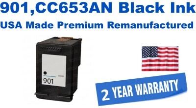 901,CC653AN Black Premium USA Made Remanufactured ink