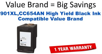 901XL,CC654AN High Yield Black Compatible Value Brand ink
