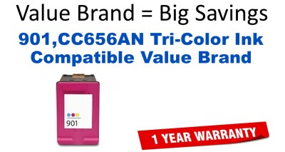 901,CC656AN Tri-Color Compatible Value Brand ink