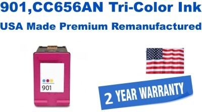 901,CC656AN Tri-Color Premium USA Made Remanufactured ink