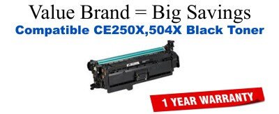 CE250X,504X High Yield Black Compatible Value Brand toner