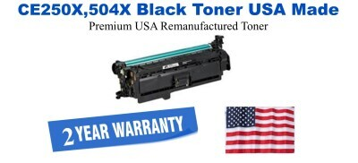 CE250X,504X High Yield Black Premium USA Made Remanufactured HP toner