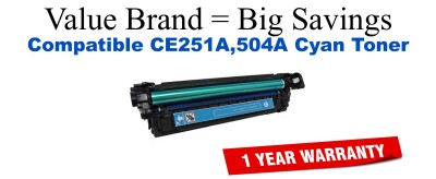 CE251A,504A Cyan Compatible Value Brand toner