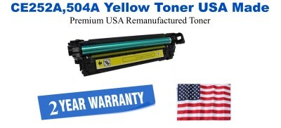 CE252A,504A Yellow Premium USA Made Remanufactured HP toner