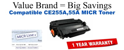 CE255A,55A MICR Compatible Value Brand toner