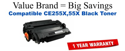 CE255X,55X High Yield Black Compatible Value Brand toner