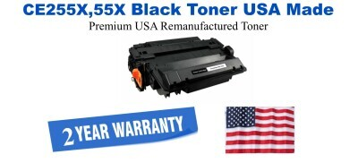 CE255X,55X High Yield Black Premium USA Made Remanufactured HP toner