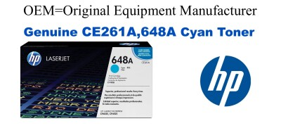 New Original HP 648A Cyan Toner Cartridge (CE261A)