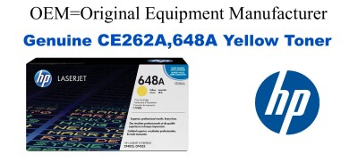 New Original HP 648A Yellow Toner Cartridge (CE262A)
