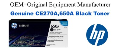 New Original HP 650A Black Toner Cartridge (CE270A)