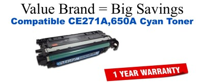 CE271A,650A Cyan Compatible Value Brand toner