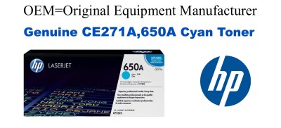 New Original HP 650A Cyan Toner Cartridge (CE271A)