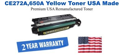 CE272A,650A Yellow Premium USA Made Remanufactured HP toner