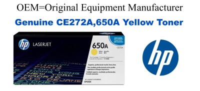 New Original HP 650A Yellow Toner Cartridge (CE272A)