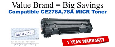 HP 78A Black Remanufactured MICR Toner Cartridge (CE278A)
