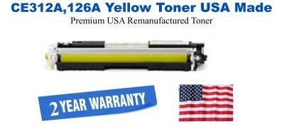 CE312A,126A Yellow Premium USA Made Remanufactured HP toner