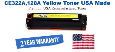 CE322A,128A Yellow Premium USA Made Remanufactured HP toner