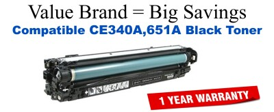 CE340A,651A Black Compatible Value Brand toner