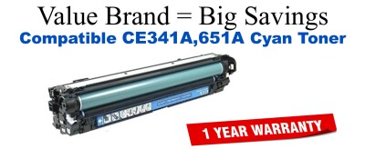 CE341A,651A Cyan Compatible Value Brand toner
