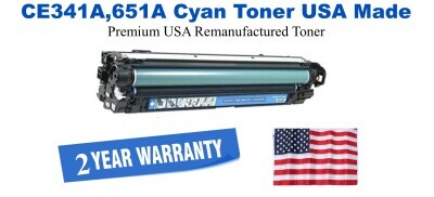 CE341A,651A Cyan Premium USA Made Remanufactured HP toner