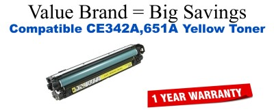CE342A,651A Yellow Compatible Value Brand toner