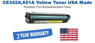CE342A,651A Yellow Premium USA Made Remanufactured HP toner