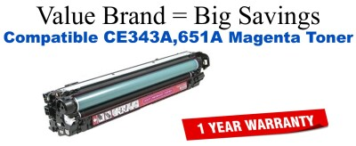 CE343A,651A Magenta Compatible Value Brand toner