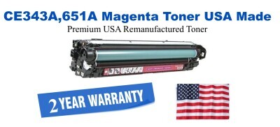 CE343A,651A Magenta Premium USA Made Remanufactured HP toner