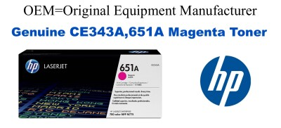 New Original HP 651A Magenta Toner Cartridge (CE343A)