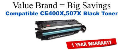 CE400X,507X High Yield Black Compatible Value Brand toner