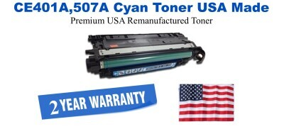 CE401A,507A Yellow Premium USA Made Remanufactured HP toner