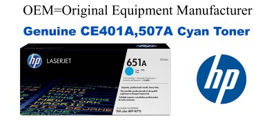 New Original HP 507A Cyan Toner Cartridge (CE401A)