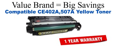 CE402A,507A Yellow Compatible Value Brand toner