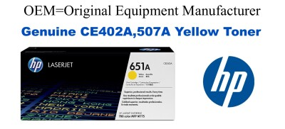New Original HP 507A Yellow Toner Cartridge (CE402A)