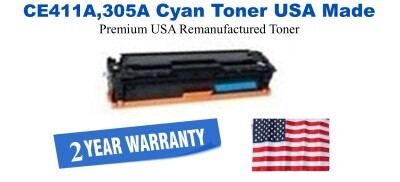 CE411A,305A Cyan Premium USA Made Remanufactured HP toner