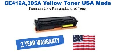 CE412A,305A Yellow Premium USA Made Remanufactured HP toner