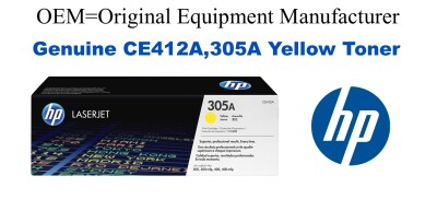 New Original HP 305A Yellow Toner Cartridge (CE412A)