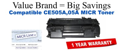 HP 05A Black Remanufactured MICR Toner Cartridge (CE505A)