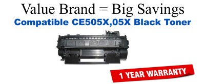 CE505X,05X High Yield Black Compatible Value Brand toner