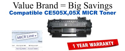 HP 05X Black Remanufactured MICR Toner Cartridge (CE505X)