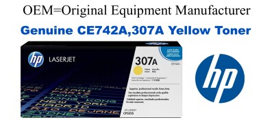 New Original HP 307A Yellow Toner Cartridge (CE742A)