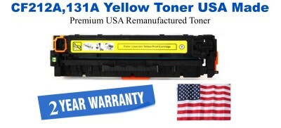 CF212A,131A Yellow Premium USA Made Remanufactured HP toner