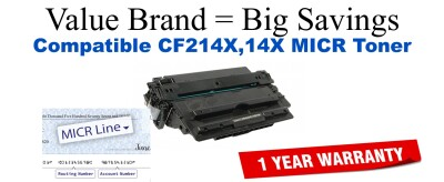 HP 14X Black Remanufactured MICR Toner Cartridge (CF214X)
