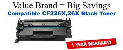 HP 26X Black Compatible Toner Cartridge (CF226X)