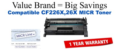 HP 26X Black Remanufactured MICR Toner Cartridge (CF226X)