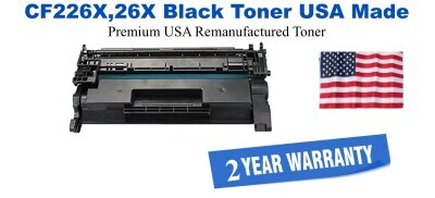 CF226X,26X High Yield Black Premium USA Made Remanufactured HP toner