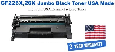 CF226X,26X Jumbo Premium USA Made Remanufactured HP Toner 50% Higher Yield