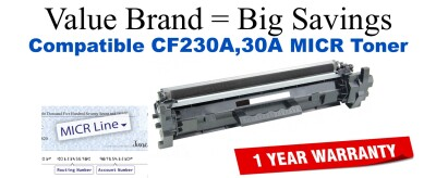 HP 30A Black Remanufactured MICR Toner Cartridge CF230A