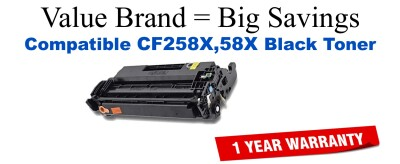CF258X-58X High Yield Black Compatible Value Brand toner