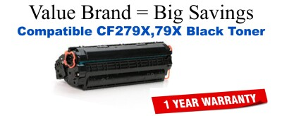 CF279X,79X High Yield Black Compatible Value Brand toner